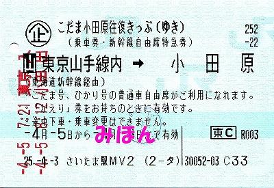 こだま小田原往復きっぷ行き