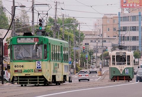 函館市電710形&8000形@駒場車庫前'13.6.8
