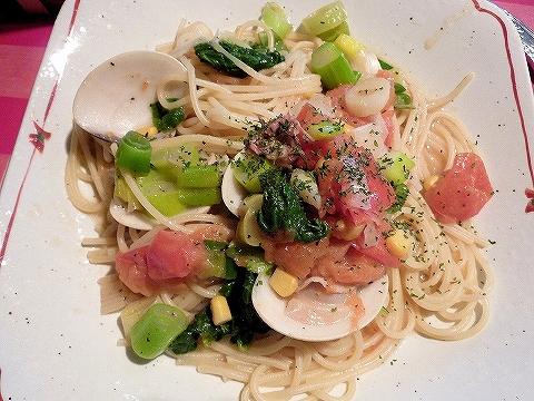蛤と菜の花のスパゲッティ@伊太利家'14.2.23