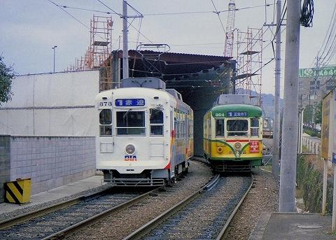 長崎電軌364@浜口町'89.12