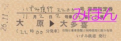 夜行列車ツアー硬券'14.11.2
