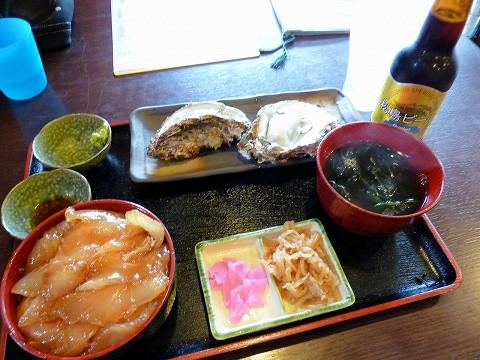 ヒラメ漬け丼&カキ定食@たからや食堂'15.7.25