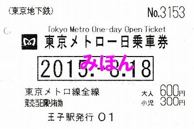 東京メトロ1日乗車券'15.8.18