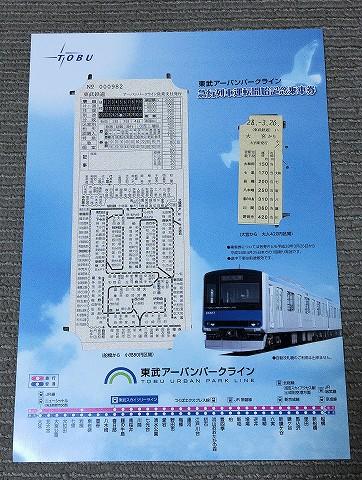 東武アーバンパークライン急行運転開始記念乗車券