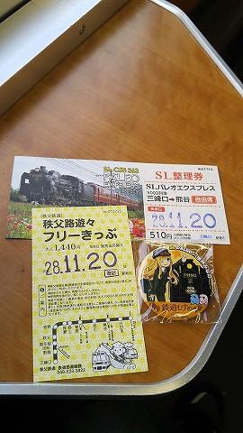 秩父路遊々フリーきっぷ&桜沢みなの缶バッジ'16.11.20